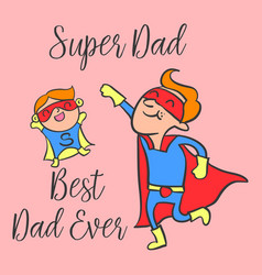 Happy father day cartoon style greeting card vector