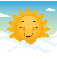 happy sun design vector image vector image