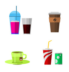 icons drink fast food elements vector image vector image
