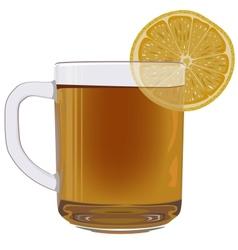 Lemon tea in glass cup vector image
