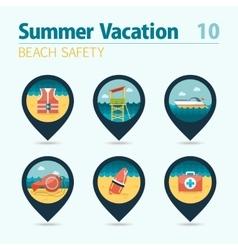 Lifeguard beach safety pin map icon set vacation vector