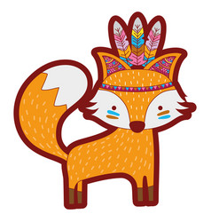 Line color cute fox animal with feathers design vector