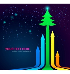 Rainbow Arrows Background with Christmas Tree on vector image