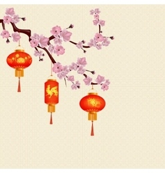 Red chinese lanterns hanging on a branch of cherry vector