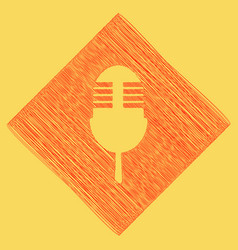 Retro microphone sign red scribble icon vector