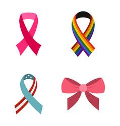 ribbon icon set flat style vector image