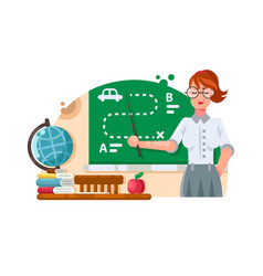 School teacher stands near blackboard vector