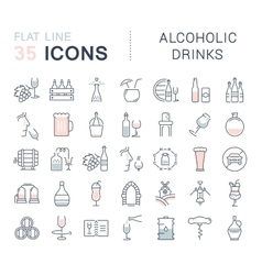 Set Flat Line Icons Alcoholic Drinks vector image