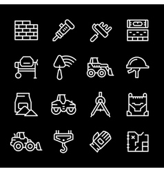 Set line icons of constructing industry vector