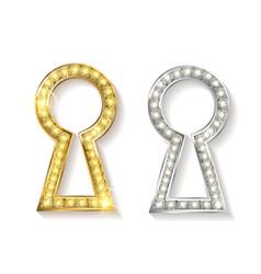 Set of keyholes of metal vector