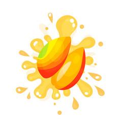 sliced ripe mango juice splashing colorful fresh vector image