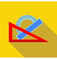 Triangular ruler and protractor icon flat style vector image