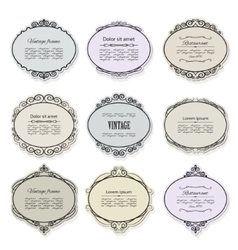 Vintage frames and labels set isolated on white vector image