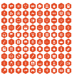 100 information icons hexagon orange vector