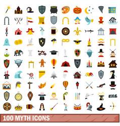 100 myth icons set flat style vector