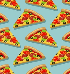 Isometric pizza seamless pattern italian food vector