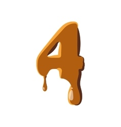 Number 4 from caramel icon vector