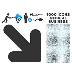 Arrow down right icon with 1000 medical business vector