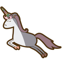 white background with cartoon unicorn jumping and vector image