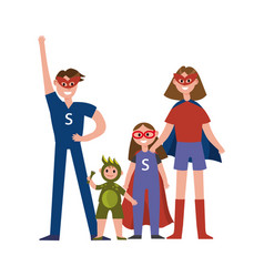 Family of superheroes cartoon characters parents vector