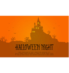 Halloween greeting card with orange background vector