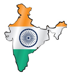 Map of india with flag vector