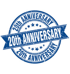 20th anniversary round grunge ribbon stamp vector