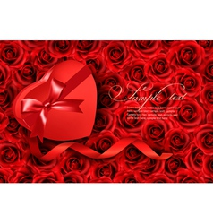 Heart-shaped gift box on rose background vector image