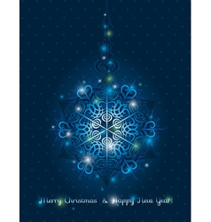 Blue background with big snowflake and text vector