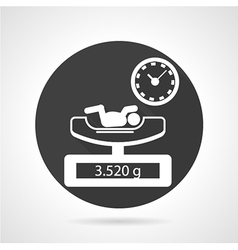 Weighing newborn black round icon vector
