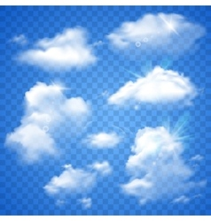 Transparent clouds on blue vector