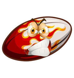 Angry face on rugby ball vector