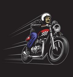 man ride a custom vintage motorcycle vector image