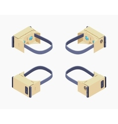 Isometric cardboard virtual reality headset vector