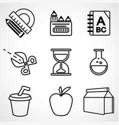 a set of black and white school icons vector image vector image