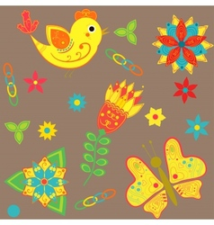 background with birds butterflies and flowers vector image vector image