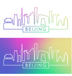 beijing skyline colorful linear style vector image