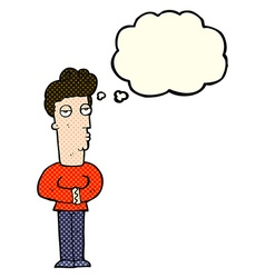 Cartoon arrogant man with thought bubble vector