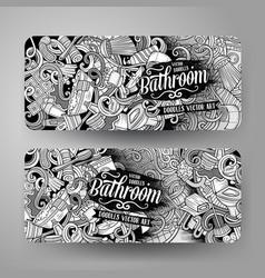 cartoon doodles bathroom vertical banners vector image