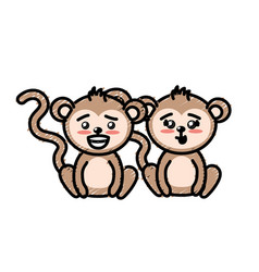 Cute couple monkey wild animal with beautiful vector