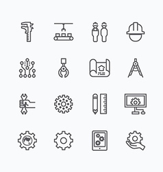 Engineering and manufacture silhouette icons set vector