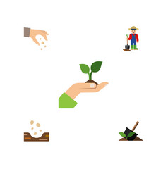 Flat icon sow set of care man soil and other vector