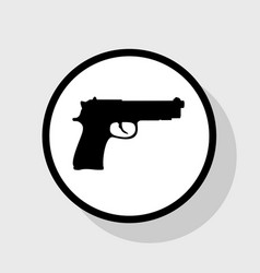 Gun sign flat black icon in vector