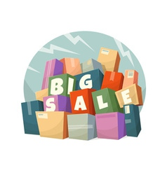 Heap of boxes with Big Sale text vector image vector image