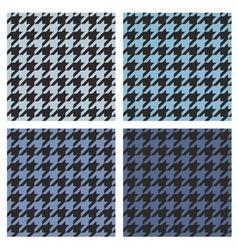 Houndstooth tile blue and black pattern set vector