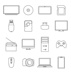 Icons digital devices thin lines vector image vector image