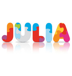 Julia written with alphabet puzzle vector