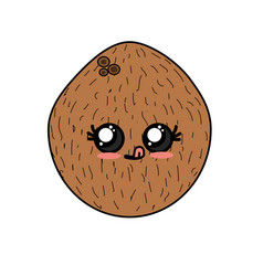 Kawaii cute funny coconut fruit vector