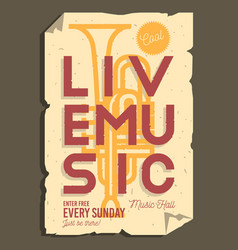 Live music typographic promotion information vector