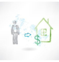 Man buying a house grunge icon vector